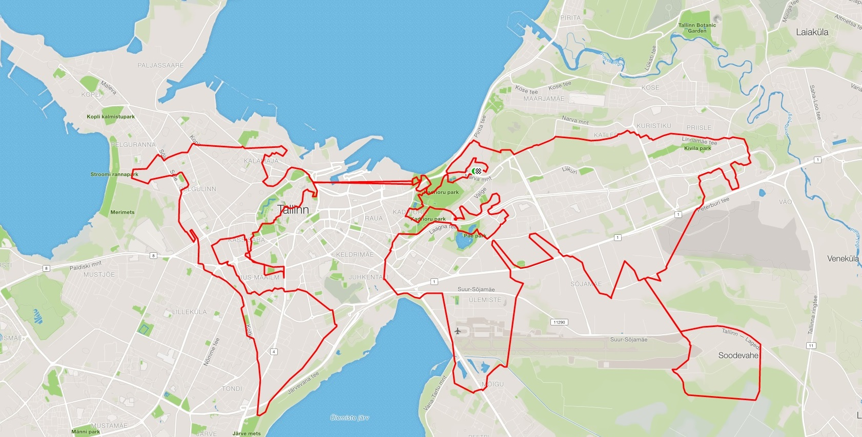 GPS Art - Map of the World in Tallinn